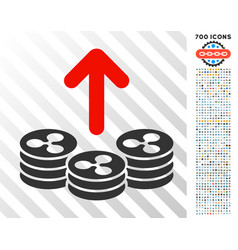 Spend ripple coins flat icon with bonus vector