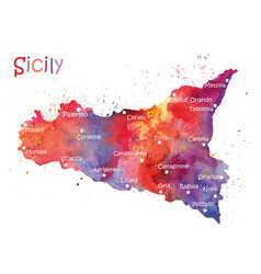 stylized map of the italian island of sicily vector image