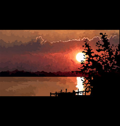 Summer sunset landscape river with pier vector