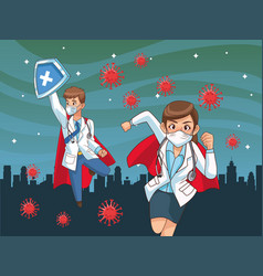 Super doctors couple vs covid19 on city vector