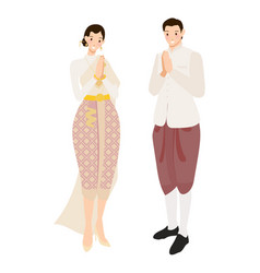 Thai wedding couple greeting in traditional dress vector