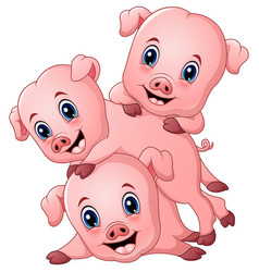 Three little pig cartoon vector