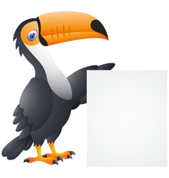 Toucan Bird With Blank Sign vector image