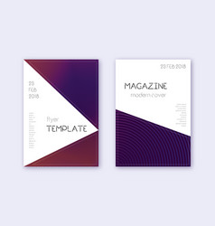 Triangle cover design template set violet abstrac vector