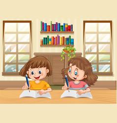 Two kids cartoon character doing homework vector