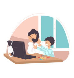 Upset dad and son sitting laptop at home vector