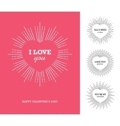 Valentines day card with heart frame and sunburst vector image