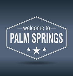 Welcome to Palm Springs hexagonal white vintage vector