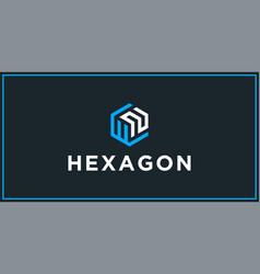 wn hexagon logo design inspiration vector image