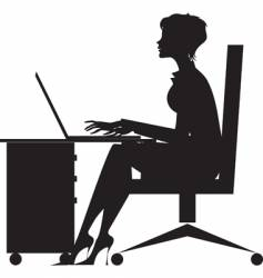 Woman working at desk vector