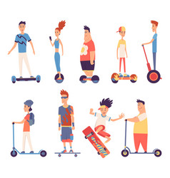 young handsome people riding an electric modern vector image