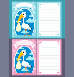 baby shower greeting invitation cards vector image vector image