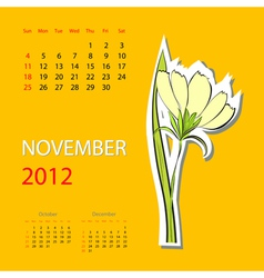 calendar for 2012 november vector image vector image