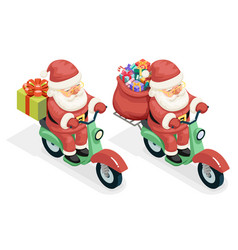 delivery bag gift box santa claus courier scooter vector image vector image