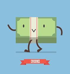 Happy money bill character vector image vector image