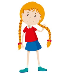 Little girl with long hair vector image vector image