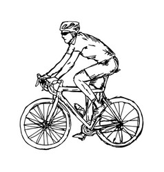 man with sunglasses cycling vector image vector image