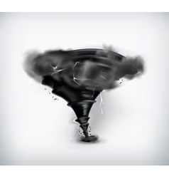 Black tornado with lightning icon vector image