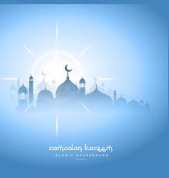 blue sky ramadan kareem background with mosque vector image vector image