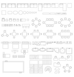 furniture and elements line symbols vector image