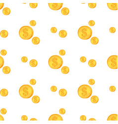 golden coins with dollar sign isolated on white vector image