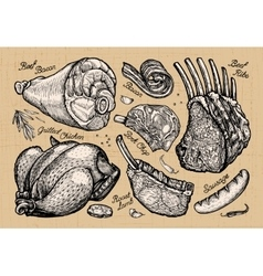 meat butcher shop hand drawn sketches of food vector image vector image