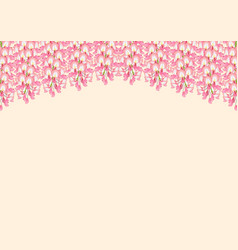 pink wisteria isolated on beige background with vector image vector image