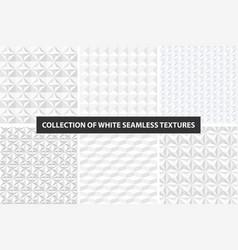 White geometric textures - seamless set vector