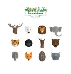 Wild Animals Faces Flat Avatars Set vector image vector image