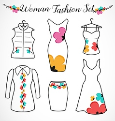 Woman Fashion Clothes Silhouette vector image
