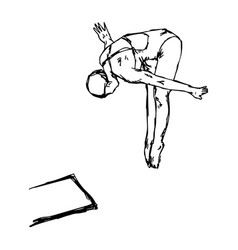 diving sport - sketch hand drawn vector image