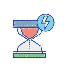 Hourglass with energy hazard symbol vector