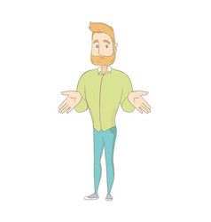 young caucasian hippie man shrugging shoulders vector image vector image