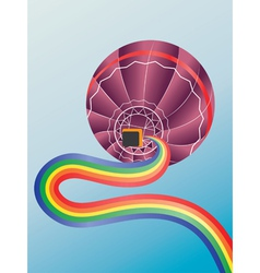 Air balloon with rainbow vector image vector image