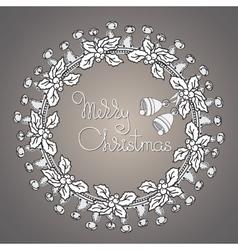 Bells and wreath handwritten words Merry vector image