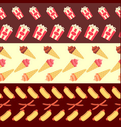 fast food seamless borders collection - ice cream vector image vector image