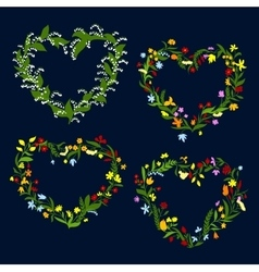 Heart shaped spring or summer wreaths vector image