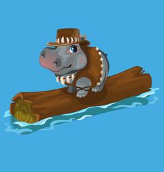 Hippopotamus hunter swimming a river on a log vector