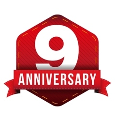 Nine year anniversary badge with red ribbon vector image vector image