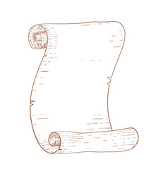 parchment scroll brown hand drawn sketch vector image