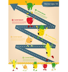 Road going up as an arrow With Cartoon Fruits vector image vector image