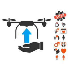 send drone hand icon with love bonus vector image vector image