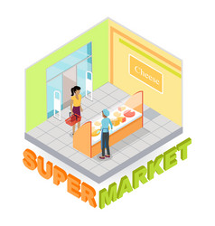 supermarket cheese department isometric vector image vector image