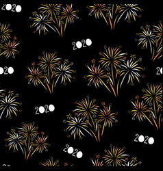 2020 fireworks happy new year seamless vector image