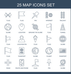25 map icons vector image
