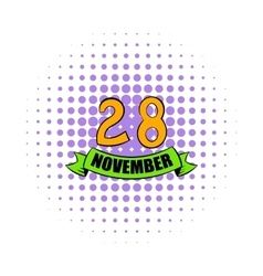 28 november date icon comics style vector