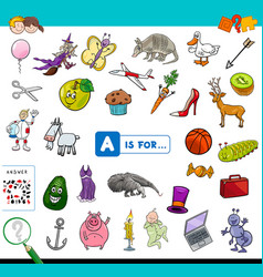 A is for educational game for children vector