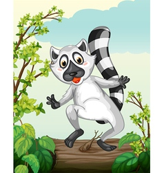 A Lemur in a green nature vector image
