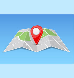 abstract map paper folded with location marker vector image
