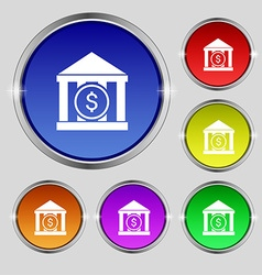 Bank icon sign Round symbol on bright colourful vector